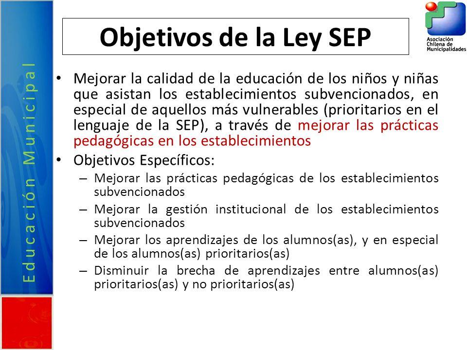 Educación Municipal Objetivos de la Ley SEP Mejorar la calidad de la educación de los niños y niñas que asistan los establecimientos subvencionados, e
