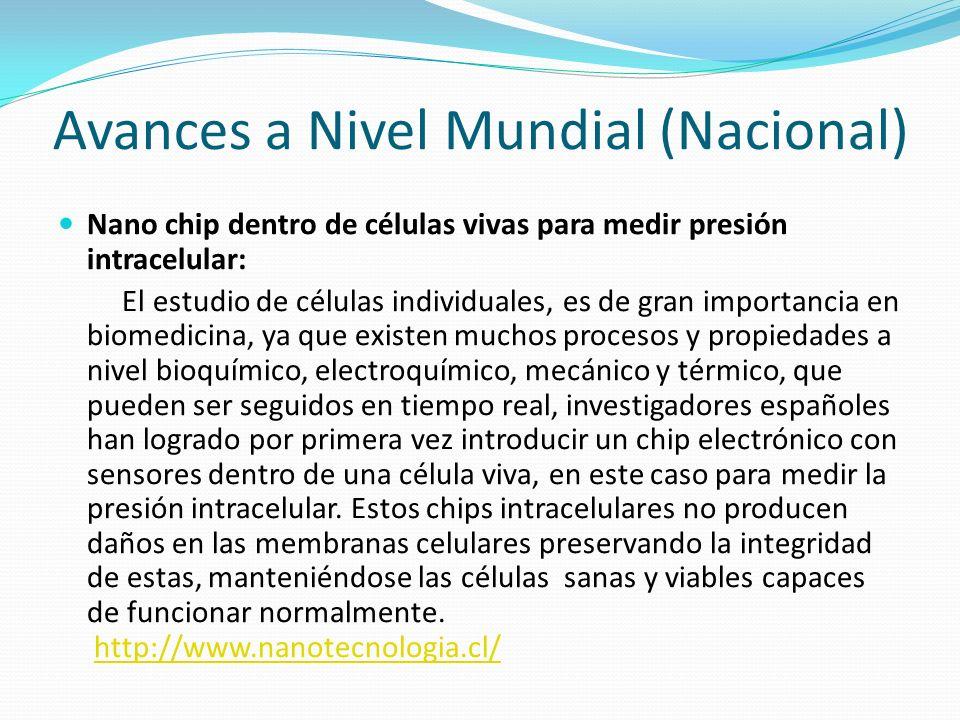 Avances a Nivel Mundial (Nacional) Nano chip dentro de células vivas para medir presión intracelular: El estudio de células individuales, es de gran i