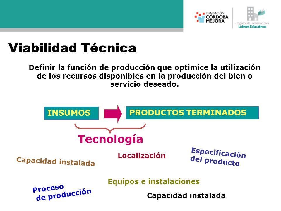 INSUMOS PRODUCTOS TERMINADOS Tecnología Especificación del producto Capacidad instalada Proceso de producción Equipos e instalaciones Capacidad instal