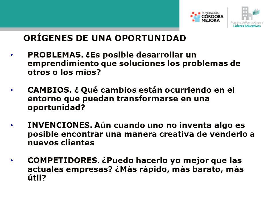 ORÍGENES DE UNA OPORTUNIDAD PROBLEMAS. ¿Es posible desarrollar un emprendimiento que soluciones los problemas de otros o los míos? CAMBIOS. ¿ Qué camb