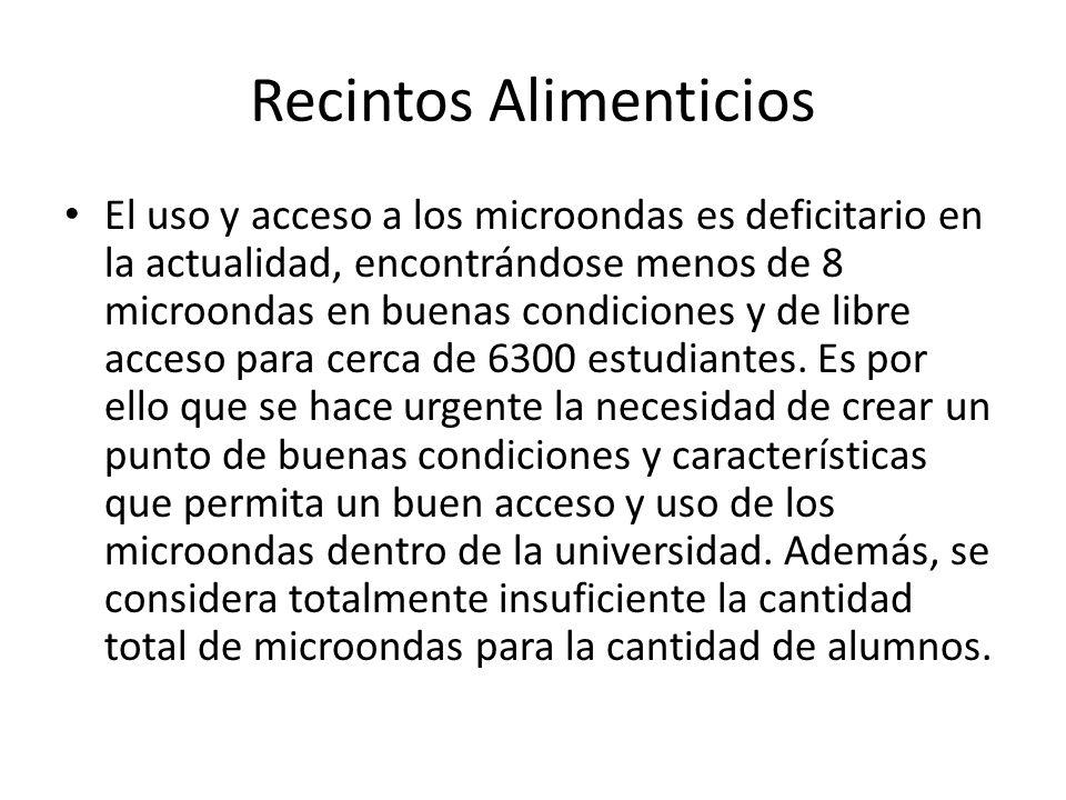 Recintos Alimenticios El uso y acceso a los microondas es deficitario en la actualidad, encontrándose menos de 8 microondas en buenas condiciones y de libre acceso para cerca de 6300 estudiantes.