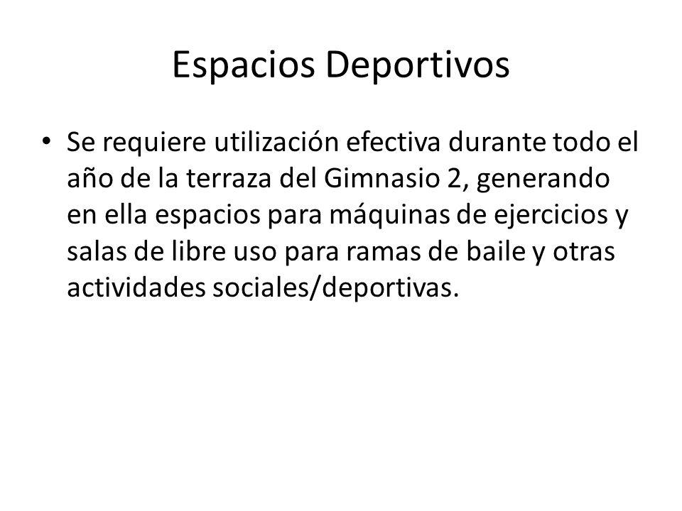 Espacios Deportivos Se requiere utilización efectiva durante todo el año de la terraza del Gimnasio 2, generando en ella espacios para máquinas de ejercicios y salas de libre uso para ramas de baile y otras actividades sociales/deportivas.