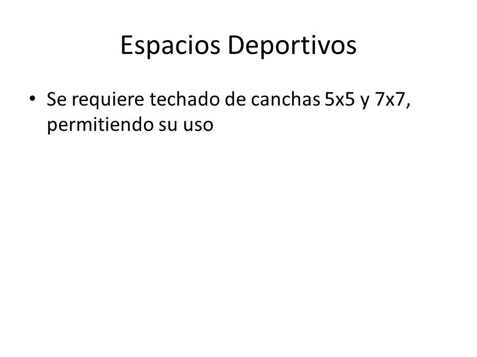 Espacios Deportivos Se requiere techado de canchas 5x5 y 7x7, permitiendo su uso