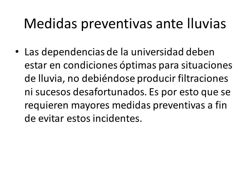 Medidas preventivas ante lluvias Las dependencias de la universidad deben estar en condiciones óptimas para situaciones de lluvia, no debiéndose producir filtraciones ni sucesos desafortunados.