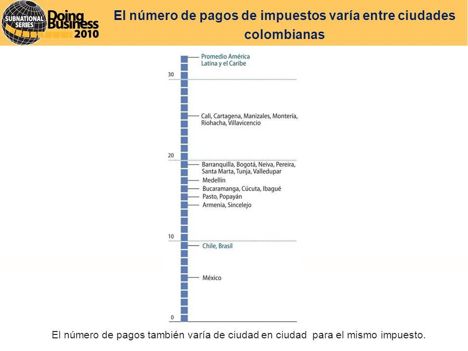 El número de pagos de impuestos varía entre ciudades colombianas El número de pagos también varía de ciudad en ciudad para el mismo impuesto.