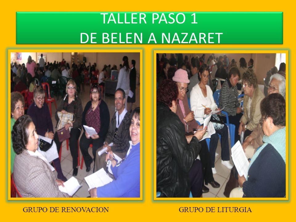 TALLER PASO 1 DE BELEN A NAZARET GRUPO DE RENOVACION GRUPO DE LITURGIA