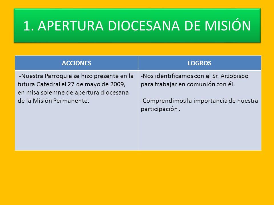 1. APERTURA DIOCESANA DE MISIÓN ACCIONESLOGROS -Nuestra Parroquia se hizo presente en la futura Catedral el 27 de mayo de 2009, en misa solemne de ape