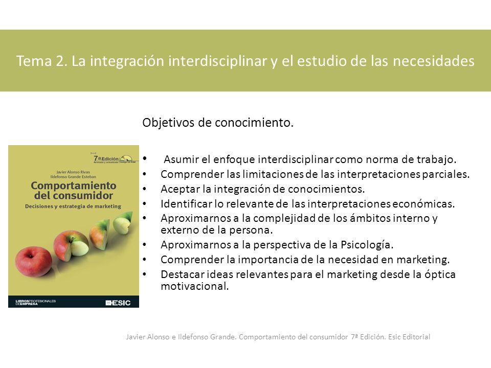 Tema 2. La integración interdisciplinar y el estudio de las necesidades Objetivos de conocimiento. Asumir el enfoque interdisciplinar como norma de tr