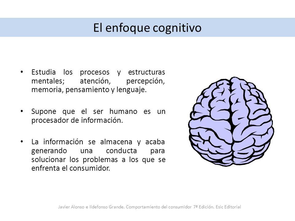 El enfoque cognitivo Estudia los procesos y estructuras mentales; atención, percepción, memoria, pensamiento y lenguaje. Supone que el ser humano es u