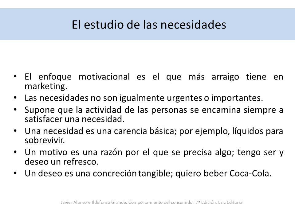 El estudio de las necesidades El enfoque motivacional es el que más arraigo tiene en marketing. Las necesidades no son igualmente urgentes o important