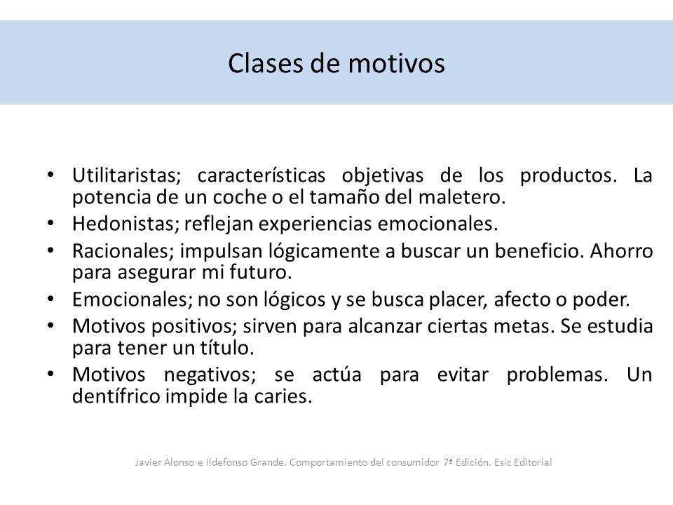 Clases de motivos Utilitaristas; características objetivas de los productos. La potencia de un coche o el tamaño del maletero. Hedonistas; reflejan ex