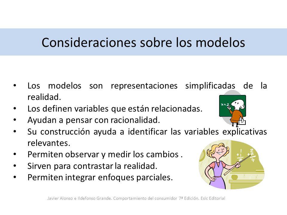 Consideraciones sobre los modelos Los modelos son representaciones simplificadas de la realidad. Los definen variables que están relacionadas. Ayudan