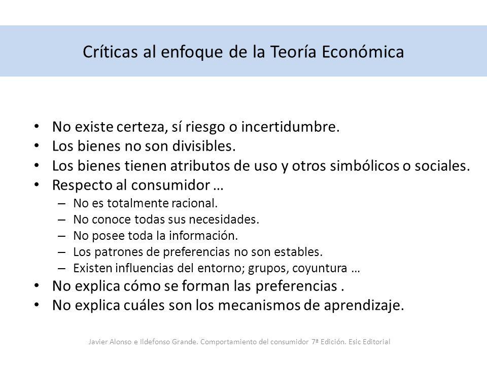 Críticas al enfoque de la Teoría Económica No existe certeza, sí riesgo o incertidumbre. Los bienes no son divisibles. Los bienes tienen atributos de