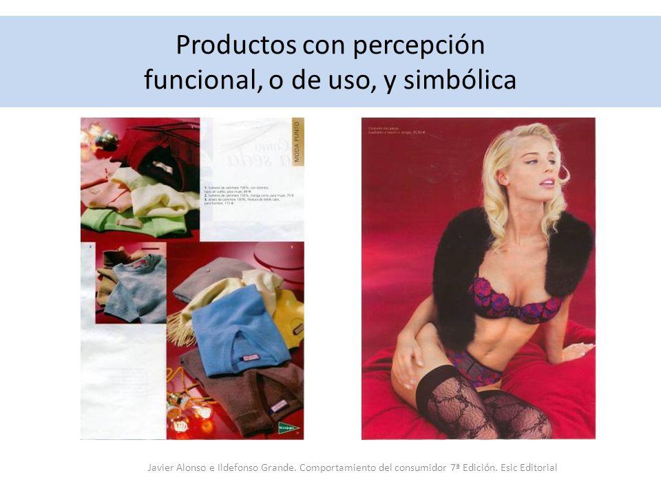 Productos con percepción funcional, o de uso, y simbólica Javier Alonso e Ildefonso Grande. Comportamiento del consumidor 7ª Edición. Esic Editorial
