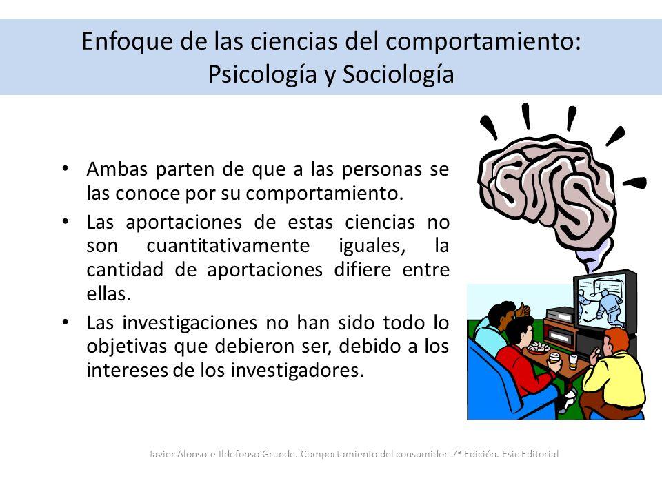 Enfoque de las ciencias del comportamiento: Psicología y Sociología Ambas parten de que a las personas se las conoce por su comportamiento. Las aporta