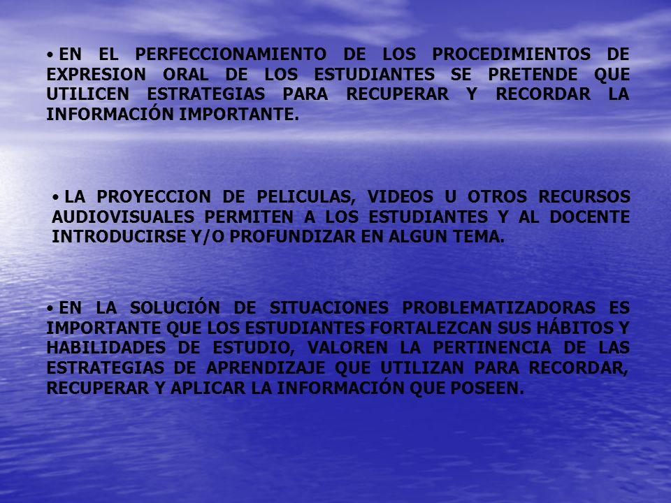 EN EL PERFECCIONAMIENTO DE LOS PROCEDIMIENTOS DE EXPRESION ORAL DE LOS ESTUDIANTES SE PRETENDE QUE UTILICEN ESTRATEGIAS PARA RECUPERAR Y RECORDAR LA INFORMACIÓN IMPORTANTE.