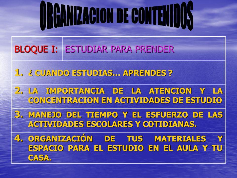 BLOQUE I: ESTUDIAR PARA PRENDER 1.¿ CUANDO ESTUDIAS… APRENDES .
