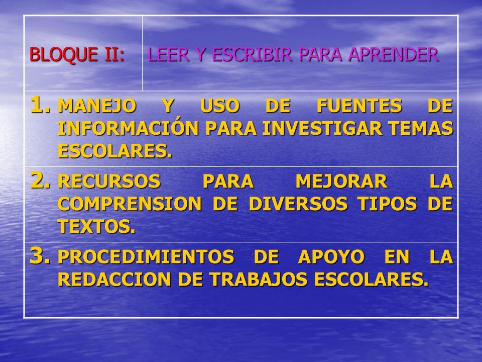 BLOQUE II: LEER Y ESCRIBIR PARA APRENDER 1.