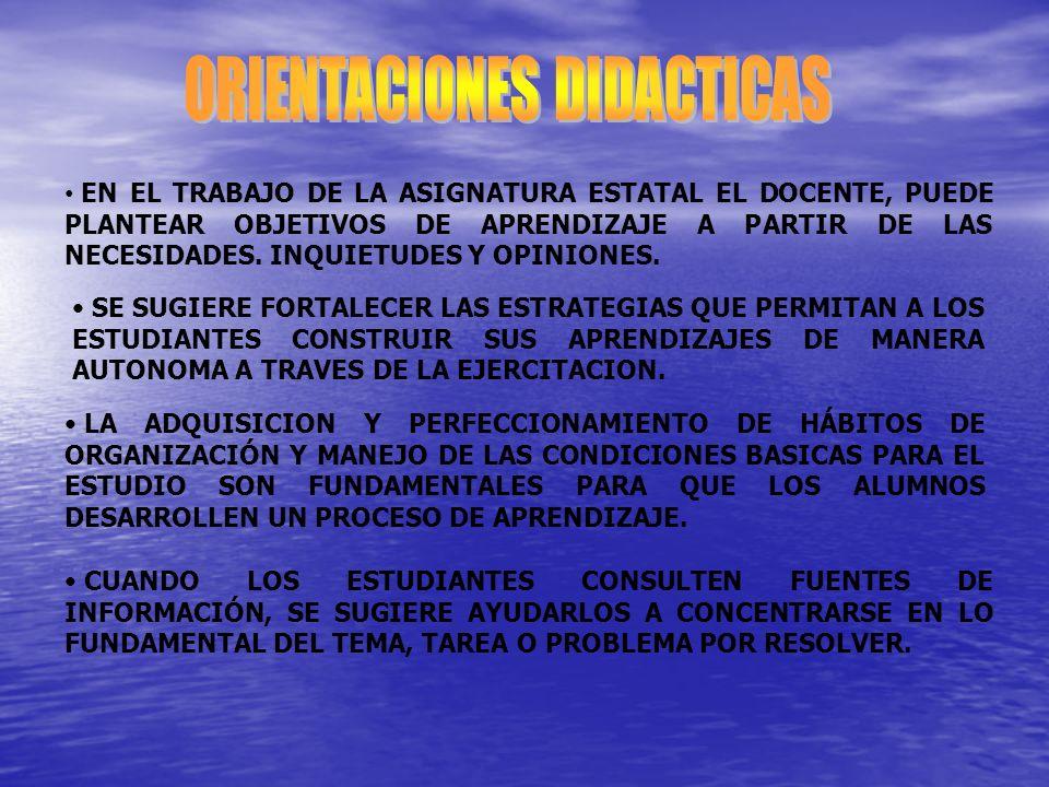 EN EL TRABAJO DE LA ASIGNATURA ESTATAL EL DOCENTE, PUEDE PLANTEAR OBJETIVOS DE APRENDIZAJE A PARTIR DE LAS NECESIDADES.