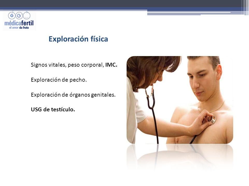 Exploración física Signos vitales, peso corporal, IMC. Exploración de pecho. Exploración de órganos genitales. USG de testículo.