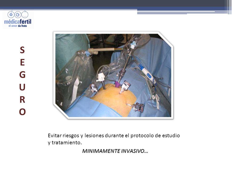 Evitar riesgos y lesiones durante el protocolo de estudio y tratamiento. MINIMAMENTE INVASIVO… SEGUROSEGURO
