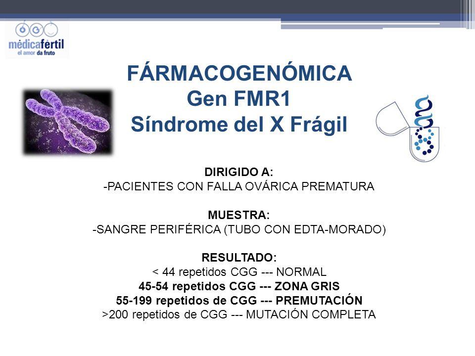 FÁRMACOGENÓMICA Gen FMR1 Síndrome del X Frágil DIRIGIDO A: -PACIENTES CON FALLA OVÁRICA PREMATURA MUESTRA: -SANGRE PERIFÉRICA (TUBO CON EDTA-MORADO) R