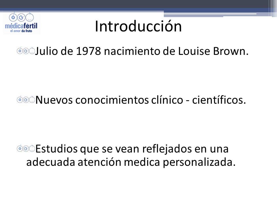 Introducción Julio de 1978 nacimiento de Louise Brown. Nuevos conocimientos clínico - científicos. Estudios que se vean reflejados en una adecuada ate