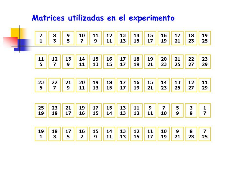 Matrices utilizadas en el experimento 7171 8383 9595 10 7 12 11 9 19 25 18 23 17 21 16 19 15 17 14 15 13 25 19 23 18 21 17 19 16 15 14 17 15 1717 3838