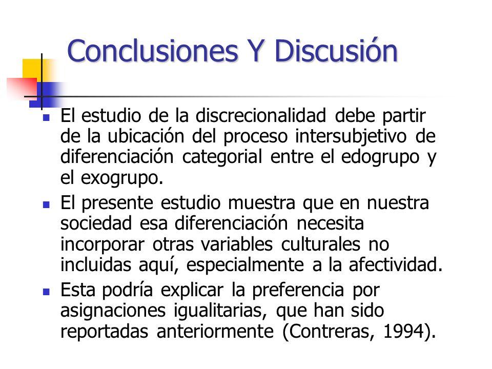 Conclusiones Y Discusión El estudio de la discrecionalidad debe partir de la ubicación del proceso intersubjetivo de diferenciación categorial entre e