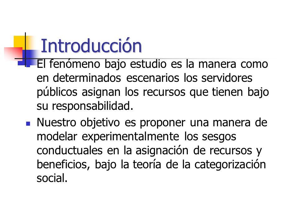 Introducción El fenómeno bajo estudio es la manera como en determinados escenarios los servidores públicos asignan los recursos que tienen bajo su res