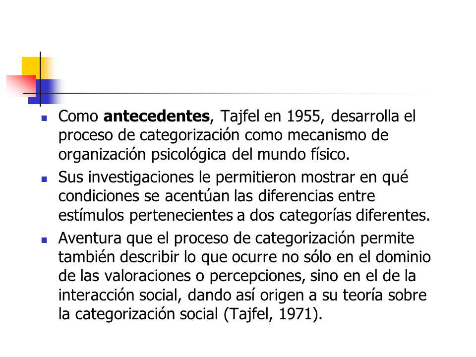 Como antecedentes, Tajfel en 1955, desarrolla el proceso de categorización como mecanismo de organización psicológica del mundo físico. Sus investigac