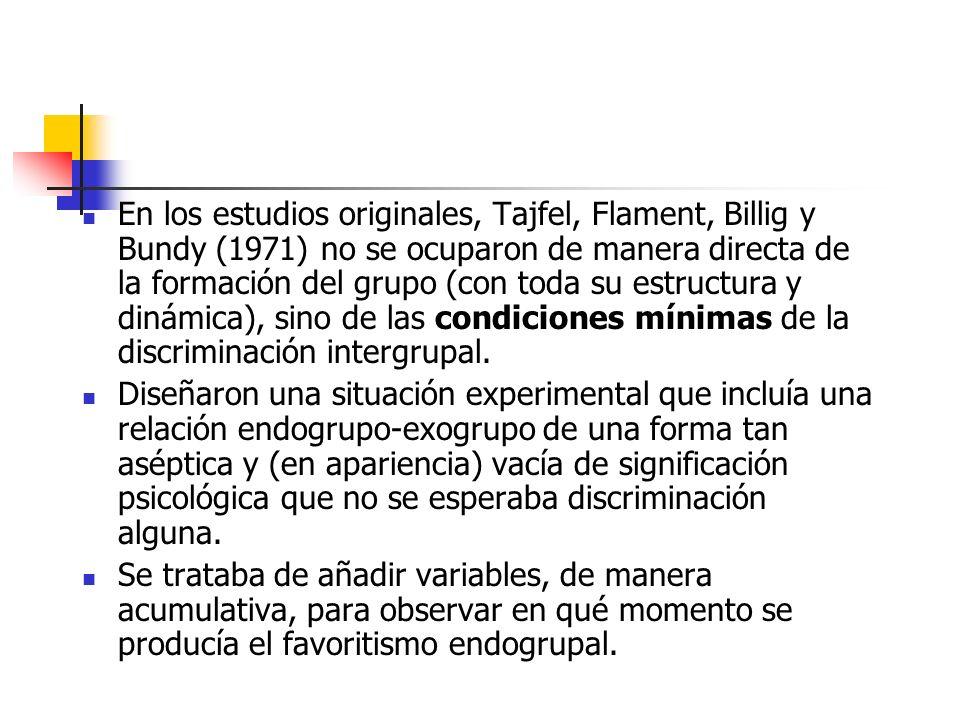 En los estudios originales, Tajfel, Flament, Billig y Bundy (1971) no se ocuparon de manera directa de la formación del grupo (con toda su estructura