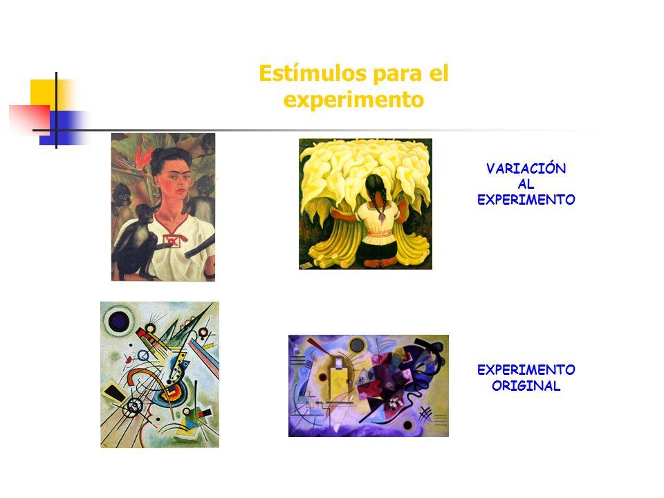 VARIACIÓN AL EXPERIMENTO EXPERIMENTO ORIGINAL Estímulos para el experimento