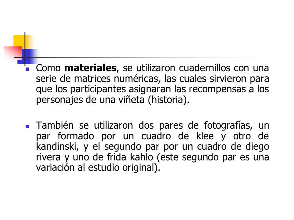 Como materiales, se utilizaron cuadernillos con una serie de matrices numéricas, las cuales sirvieron para que los participantes asignaran las recompe