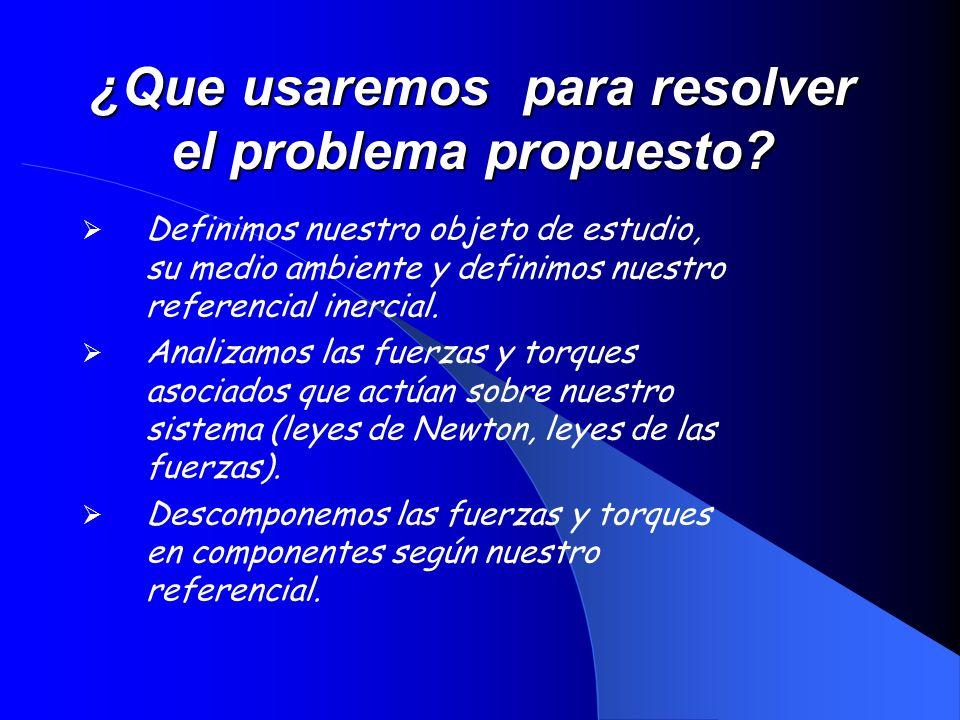 ¿Que usaremos para resolver el problema propuesto? Definimos nuestro objeto de estudio, su medio ambiente y definimos nuestro referencial inercial. An
