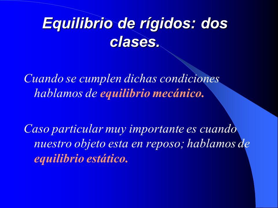 Equilibrio de rígidos: dos clases. Cuando se cumplen dichas condiciones hablamos de equilibrio mecánico. Caso particular muy importante es cuando nues