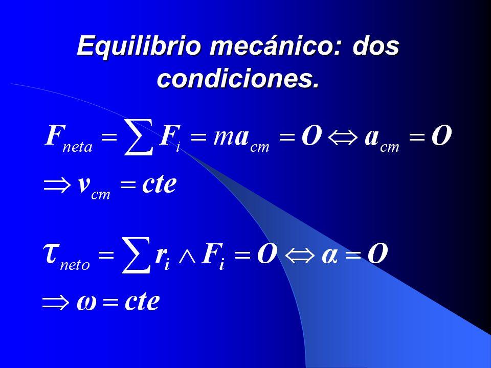 Equilibrio mecánico: dos condiciones.