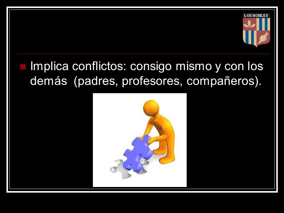 Implica conflictos: consigo mismo y con los demás (padres, profesores, compañeros).