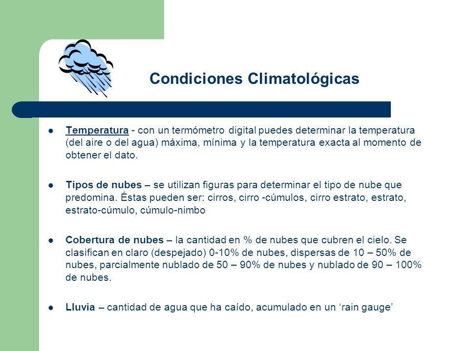 Temperatura - con un termómetro digital puedes determinar la temperatura (del aire o del agua) máxima, mínima y la temperatura exacta al momento de ob