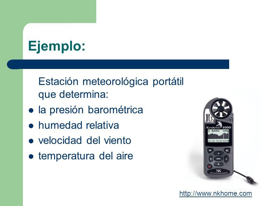 Ejemplo: Estación meteorológica portátil que determina: la presión barométrica humedad relativa velocidad del viento temperatura del aire http://www.n