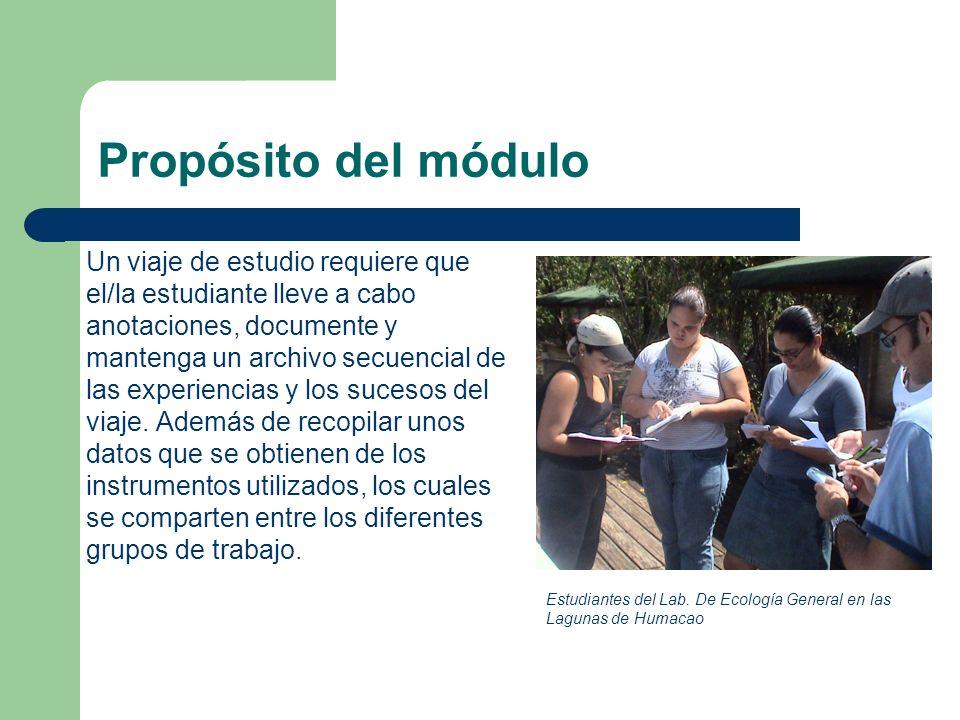 Propósito del módulo Un viaje de estudio requiere que el/la estudiante lleve a cabo anotaciones, documente y mantenga un archivo secuencial de las exp