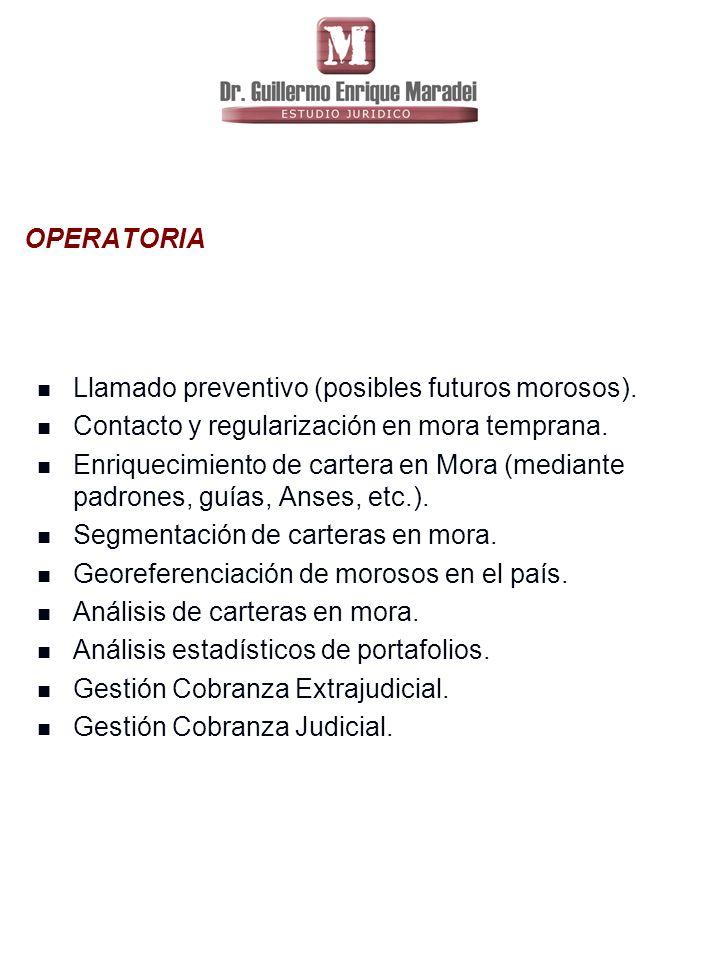 OPERATORIA Llamado preventivo (posibles futuros morosos).