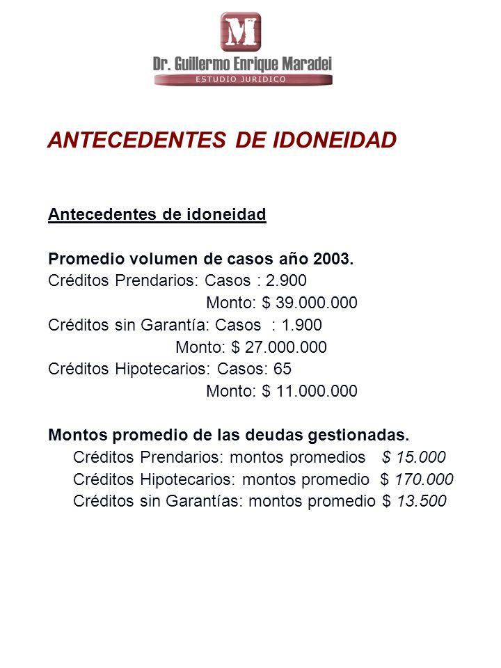 ANTECEDENTES DE IDONEIDAD Antecedentes de idoneidad Promedio volumen de casos año 2003.