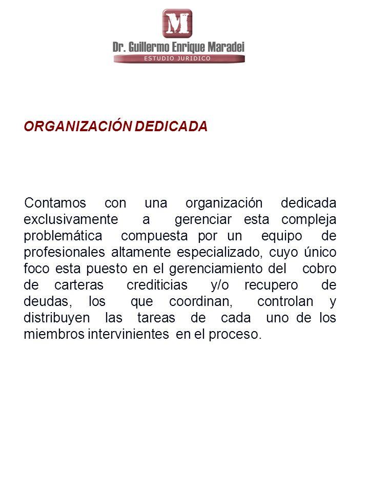 ORGANIZACIÓN DEDICADA Contamos con una organización dedicada exclusivamente a gerenciar esta compleja problemática compuesta por un equipo de profesionales altamente especializado, cuyo único foco esta puesto en el gerenciamiento del cobro de carteras crediticias y/o recupero de deudas, los que coordinan, controlan y distribuyen las tareas de cada uno de los miembros intervinientes en el proceso.