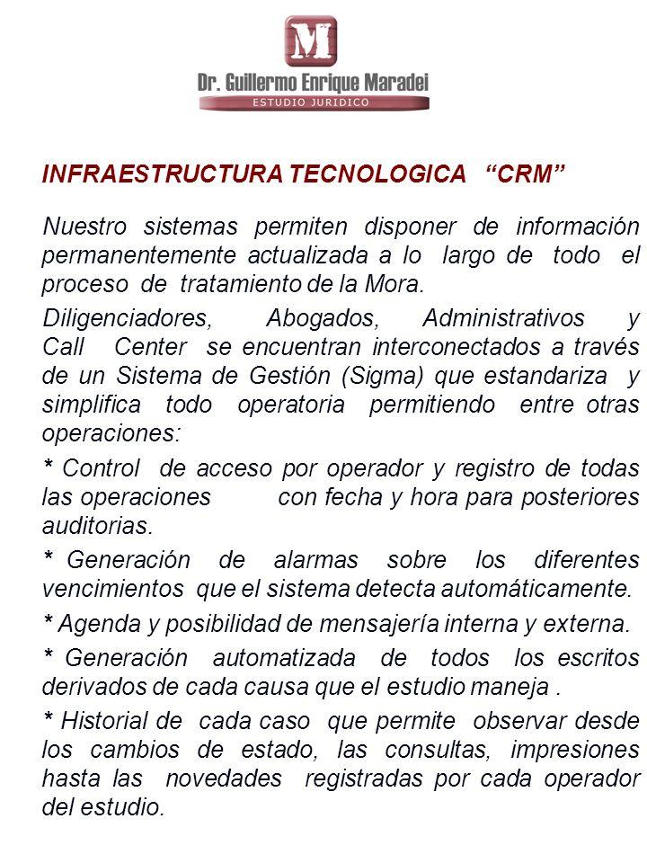 INFRAESTRUCTURA TECNOLOGICA CRM Nuestro sistemas permiten disponer de información permanentemente actualizada a lo largo de todo el proceso de tratamiento de la Mora.