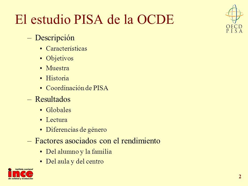2 El estudio PISA de la OCDE –Descripción Características Objetivos Muestra Historia Coordinación de PISA –Resultados Globales Lectura Diferencias de