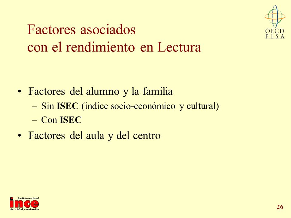 26 Factores asociados con el rendimiento en Lectura Factores del alumno y la familia –Sin ISEC (índice socio-económico y cultural) –Con ISEC Factores