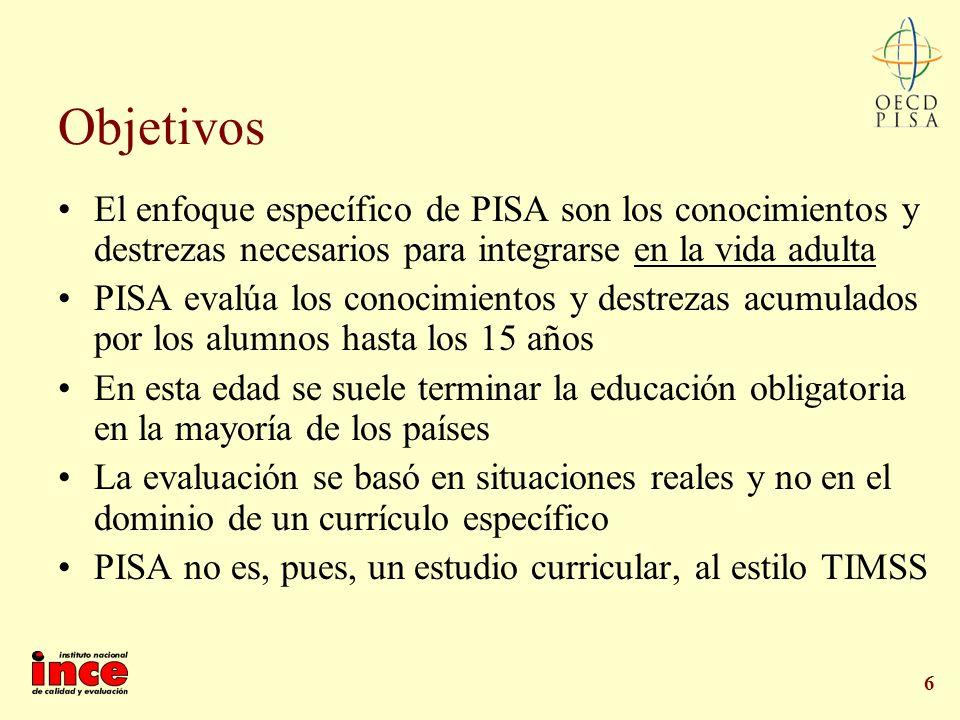 6 Objetivos El enfoque específico de PISA son los conocimientos y destrezas necesarios para integrarse en la vida adulta PISA evalúa los conocimientos