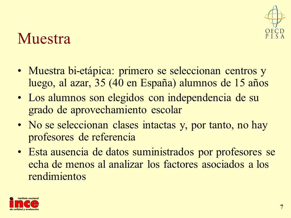 7 Muestra Muestra bi-etápica: primero se seleccionan centros y luego, al azar, 35 (40 en España) alumnos de 15 años Los alumnos son elegidos con indep
