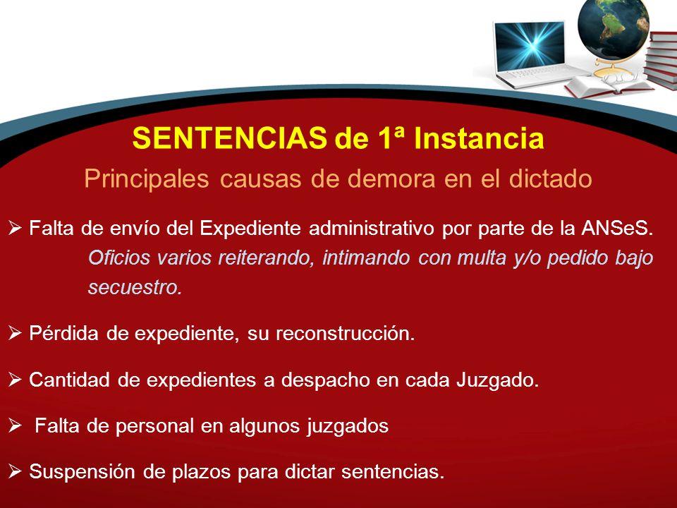 SENTENCIAS de 1ª Instancia Principales causas de demora en el dictado Falta de envío del Expediente administrativo por parte de la ANSeS. Oficios vari